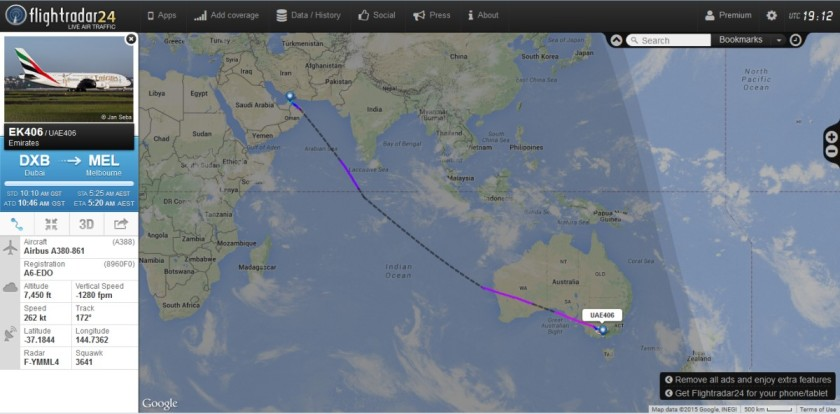 The flight-path from Dubai to Melbourne, mainly above the ocean.