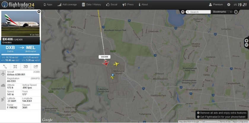 EK406 has touched down at Melbourne airport. On board: my wife. :)