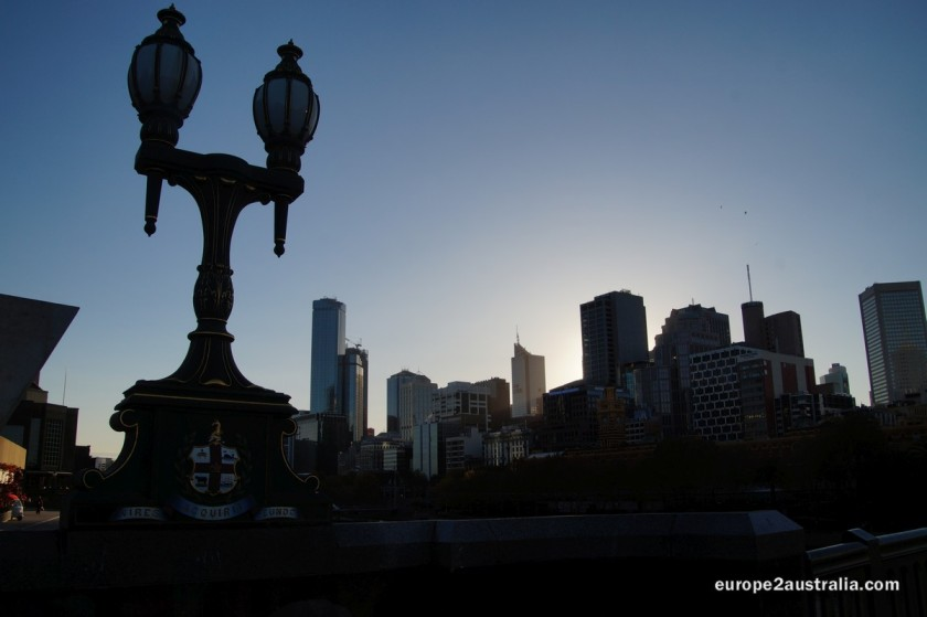 The sun sinking behind the Melbourne skyline gives some spectacular effects.