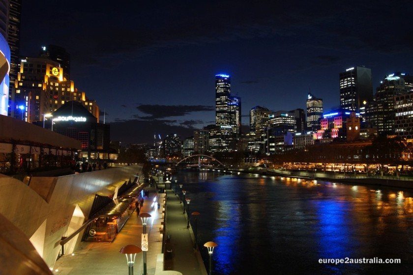 Night over the Yarra River - and the city lights up.