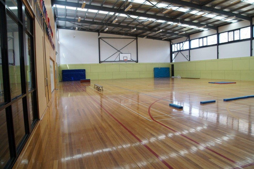 The new school gym with a wooden floor was added to the school a few years ago.