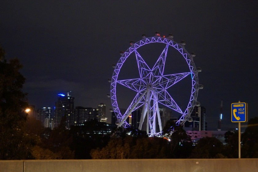 The Ferris wheel in downtown Melbourne is quite the icon at night.