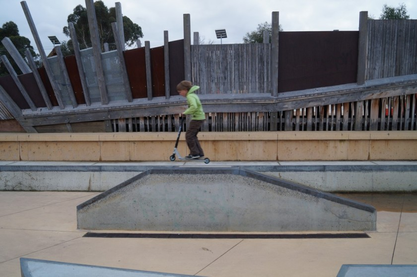 Kai is testing the skate ramp at Markham Reserve