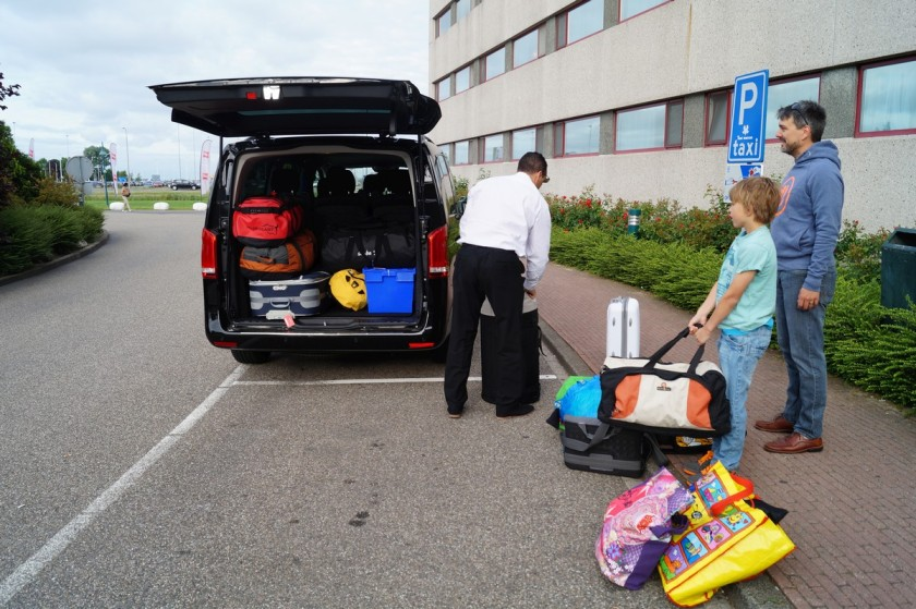 Even with having a mini-bus for a taxi, getting all our stuff in was not easy.