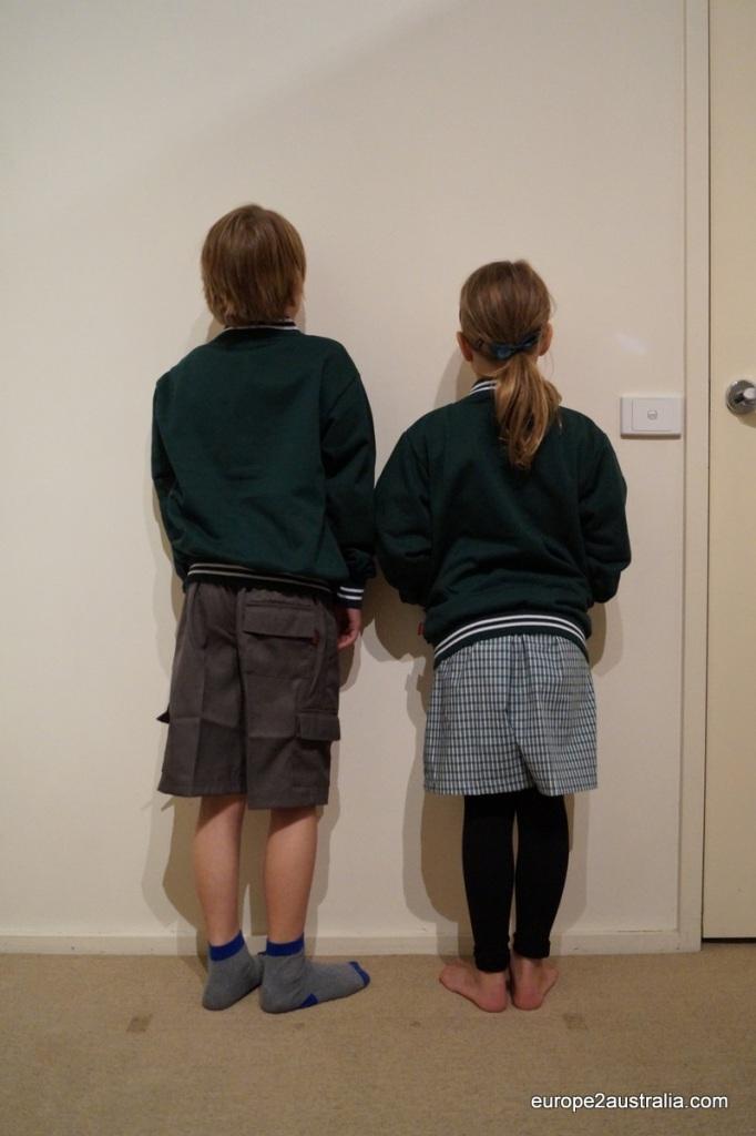 Kai and Luka in their school uniform