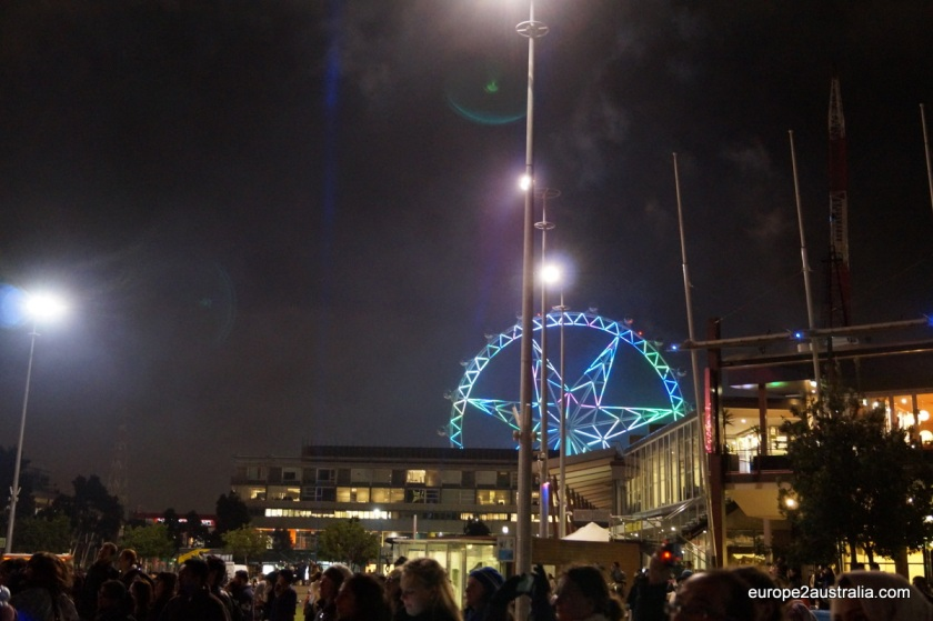 Everything was happening under the watchful eye of the Melbourne Star.