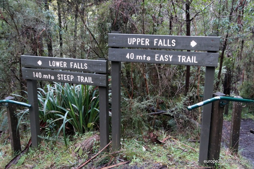 At the falls you can choode for the easy way or the adventurous trail