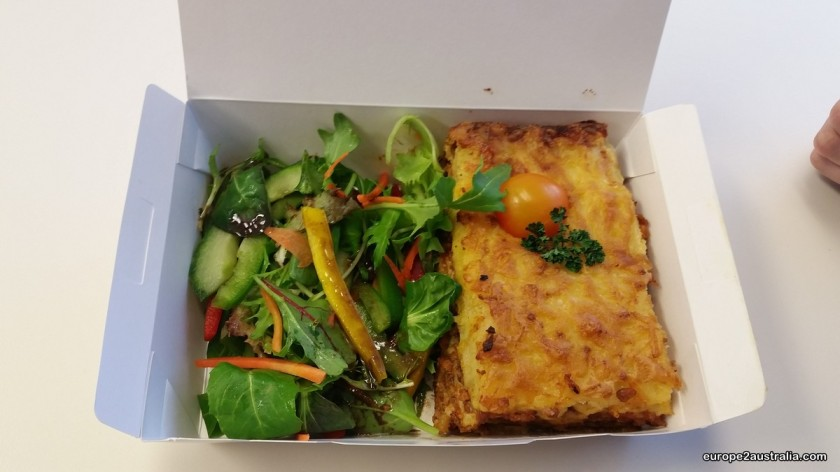 Lasagne with salad. One of the many choices available just around the corner.