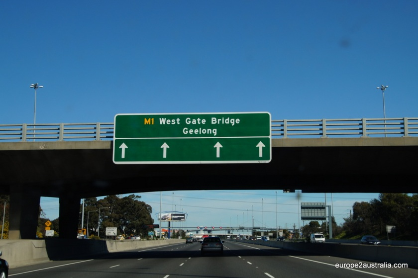 West gate bridge sign