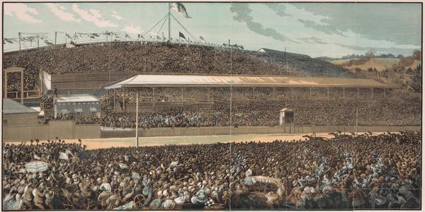 "Engraving of the finish line at the Melbourne Cup of 1881. Made by ""S.B."", published in the Illustrated Australian News in November 1881."