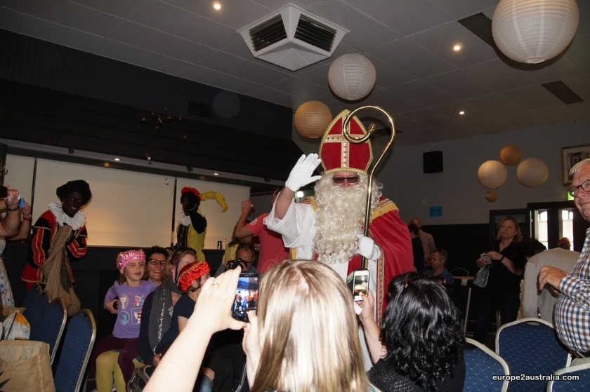 Contrary to what Sint wears in the Netherlands, here he is sporting sunglasses. Cool.