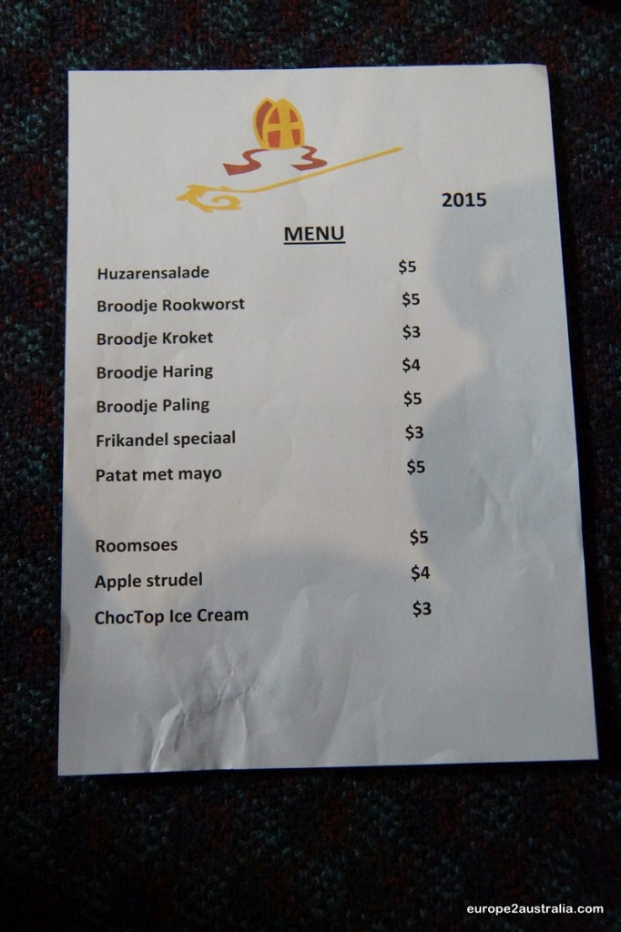 The menu was truly Dutch.