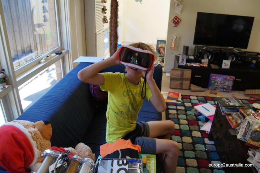 Kai got a View Master, which lets you insert your mobile phone into it and turns it into a 3D viewer.