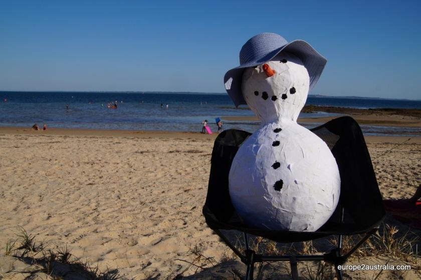 A bit of European nostalgia: we brought or own snowman.