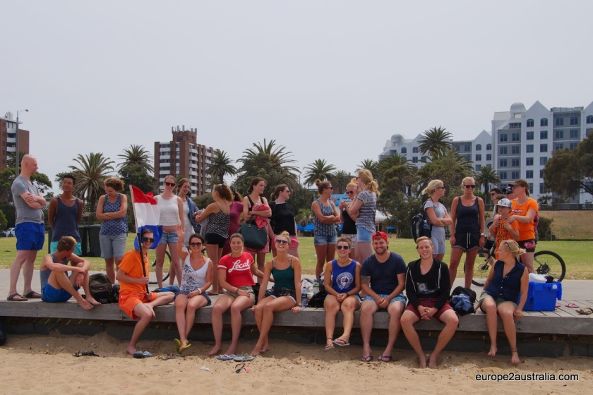 Everyone assembling at St. Kilda beach. Most of the Dutchies here were on vacation or short stays.