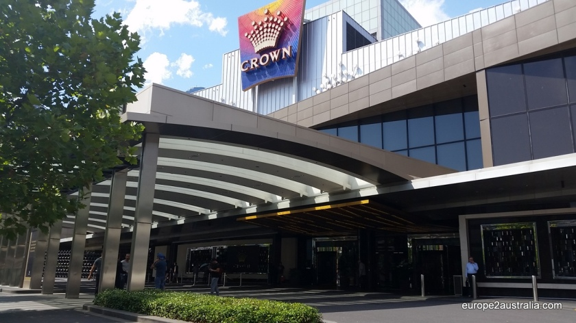 The main entrance to the Crown Casino is off of Spencer street, close to the Yarra River and the waterfront.
