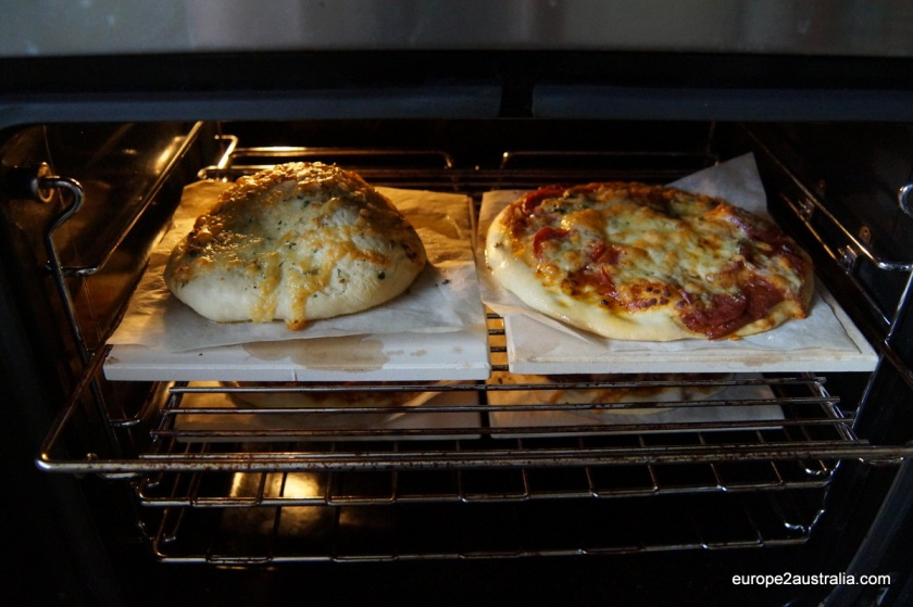 Bake at 180 C for about 20 minutes, until the dough is golden and the cheese has melted.