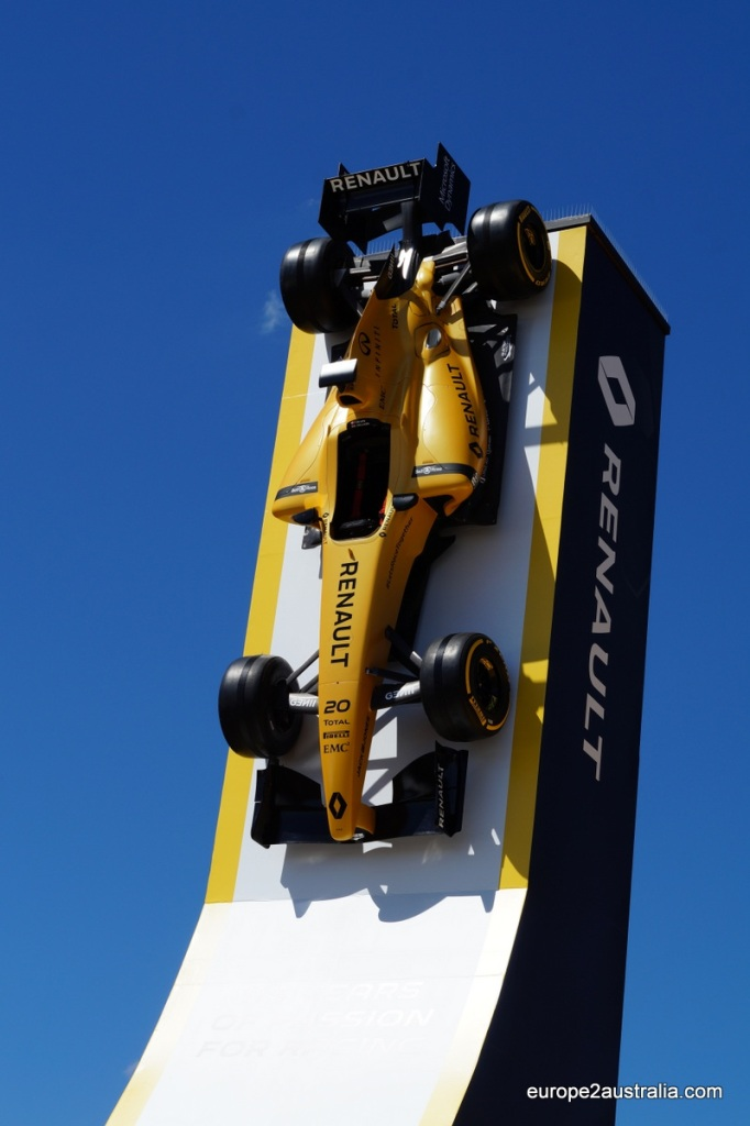 Renault had their car glued to a ramp sticking into the blue sky. Looked pretty cool.