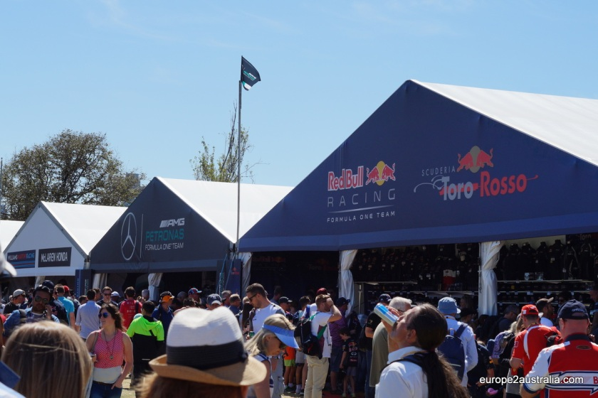 But, of course, there was a bit of F1 here. The big teams had their merchandising tents up, where you can buy your shirts and caps to support them.