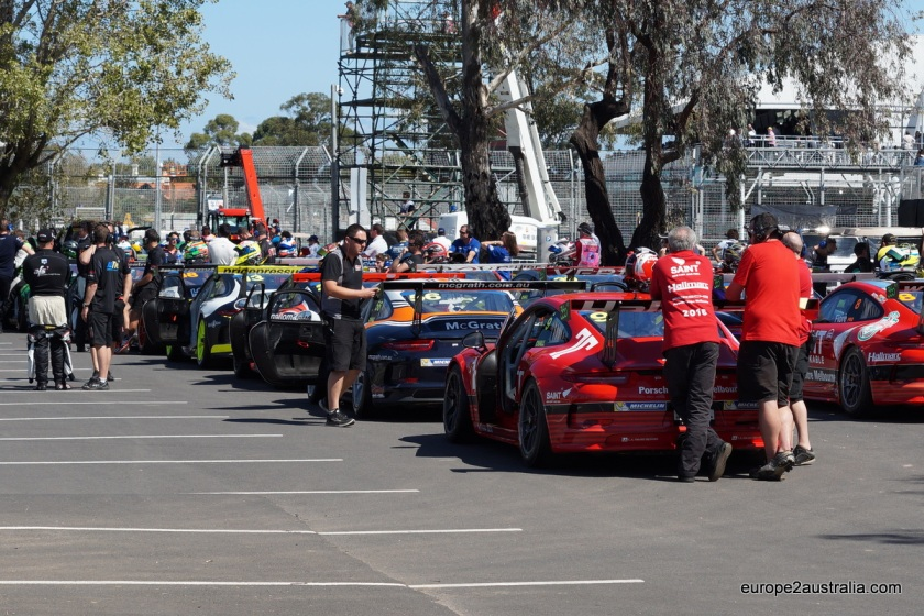 The Porsche Cup was one of the pre-races. Here they are getting ready for their final race of the weekend.