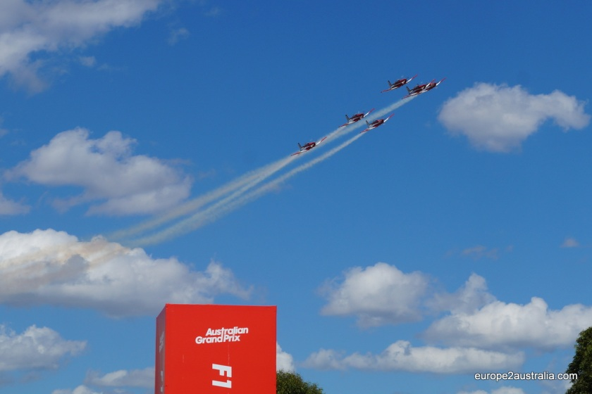 But before the race finally got under way, there was an air show. These were the RAAF Roulettes.