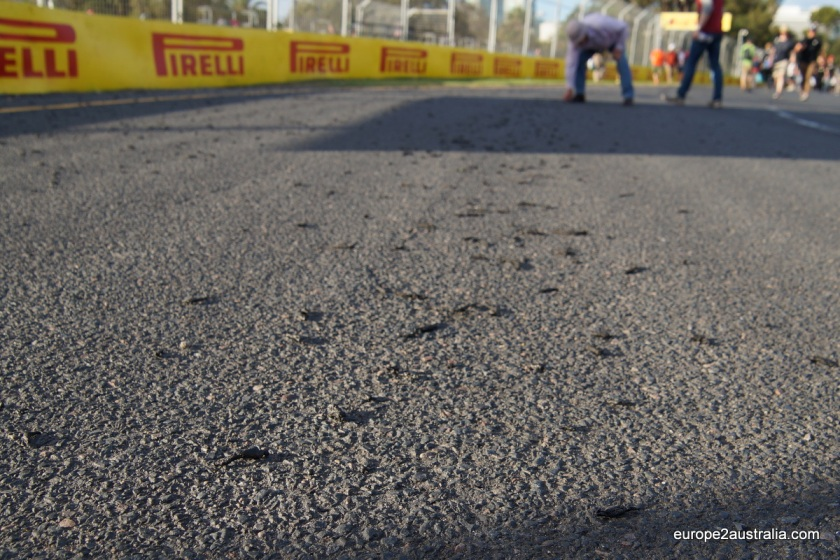 After the race we were allowed onto the track. The black bits on the road is the rubber that came off of the tires. No wonder they need to change them so often...