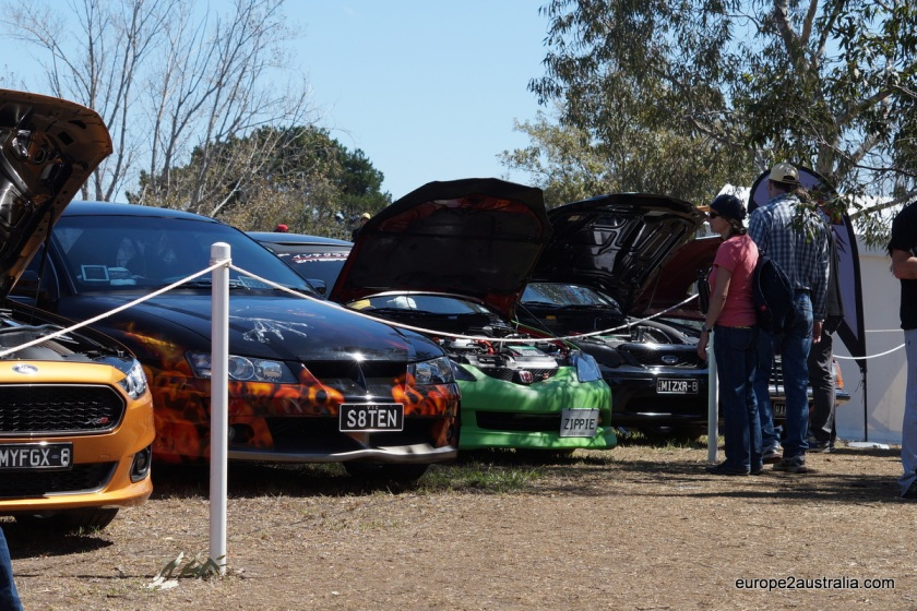 "One of the ""side shows"" was an exhibition of tuned-up cars. Something for the petrol-heads."