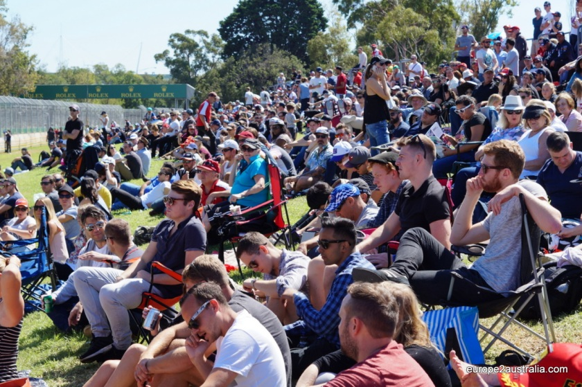 As the day went on, the spectators found their places on the grandstands and hills surrounding the track.