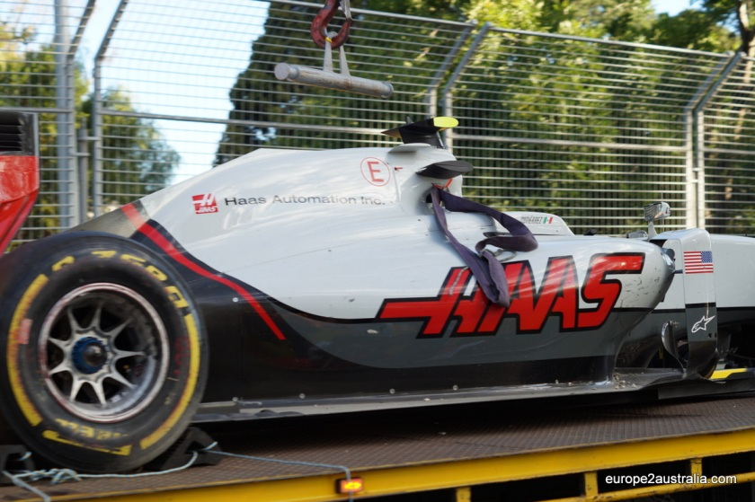 The first truck carried what what was left of the Haas. Not too bad.