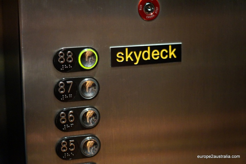Pushing the Skydeck button gets you to the 88th floor at 9m (or three floors) per second.
