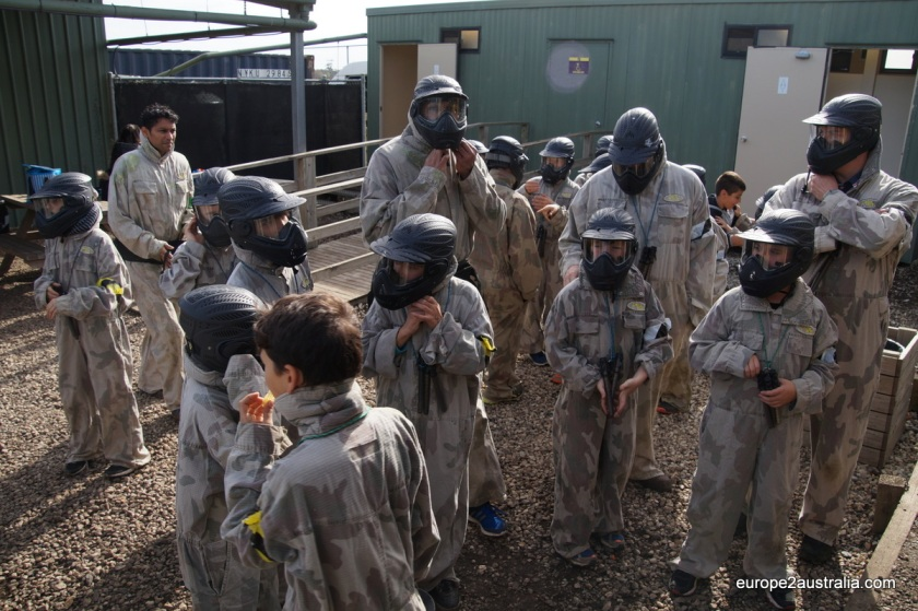 Everyone got suited up in brown overalls and helmets.
