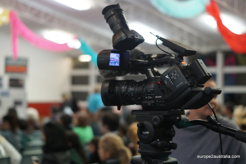 The local media was there as well to film the event.