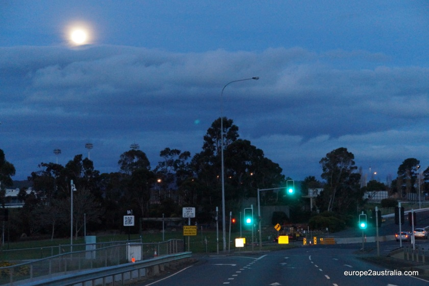 Driving through the dusk.