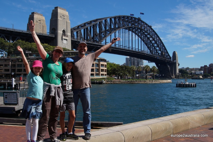 Welcome to Sydney! The famous Harbour Bridge is always a nice background for a family picture.