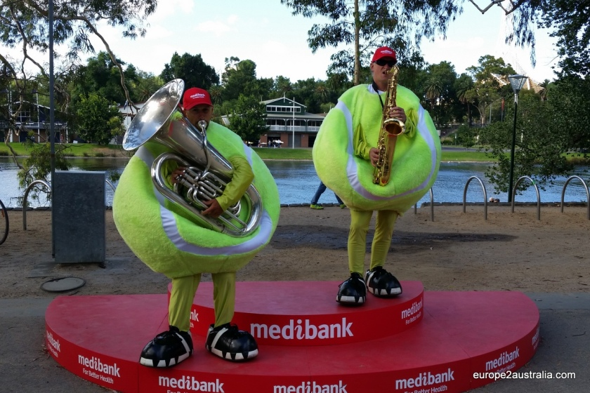 Giant tennis balls playing a bit of early morning jazz.