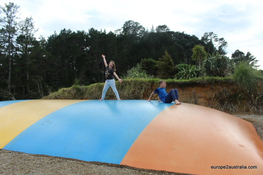 And Kai and Luka enjoyed the jumping pillow at the paid campsites in New Zealand