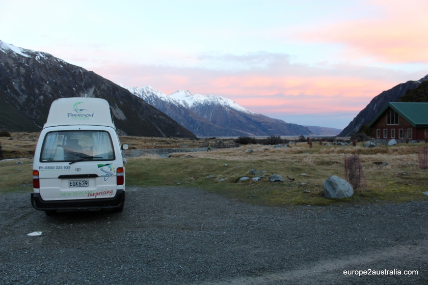 DOC scenic campsite at Mount Cook-New Zealand