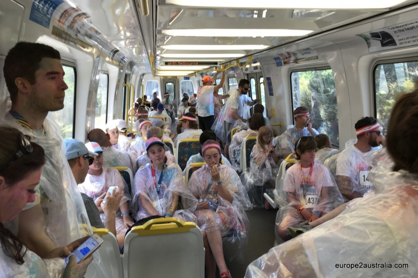 Again a train full of white shirts, but this time wrapped in plastic, so not to get the seats too dirty.
