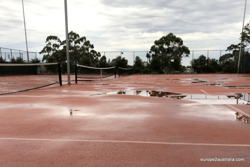 After a night of steady rain, the courts were not in good condition when we arrived.